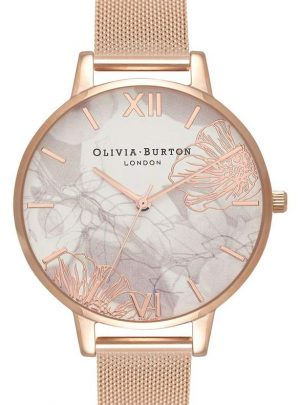 Oliva Burton Abstract Florals Mesh Bracelet Watch, 38mm