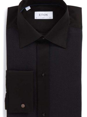 Slim Fit Microprint Tuxedo Shirt