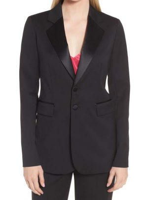Tuxedo Detail Wool Suit Jacket