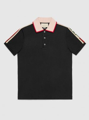Cotton polo with Gucci stripe
