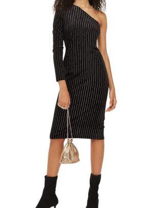 Glitter Stripe One-Shoulder Dress