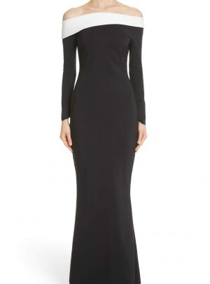 Tae Bicolor Off the Shoulder Gown